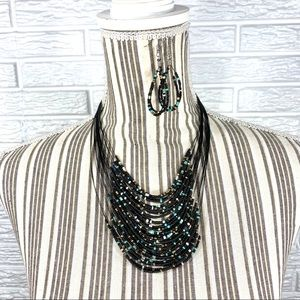 Multichain Beaded Necklace and Earrings Set